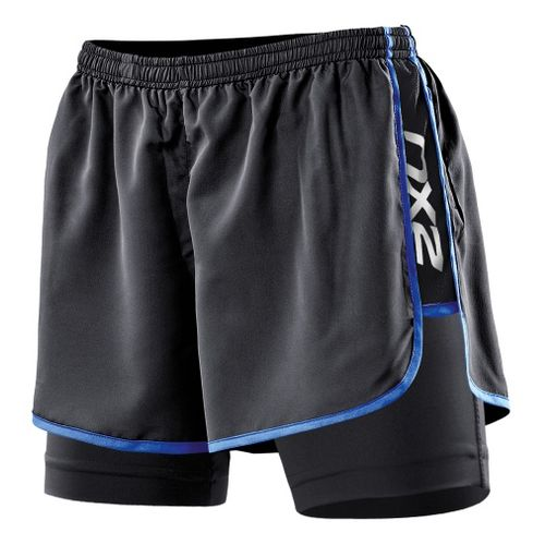 Womens 2XU Run Compression Lined Shorts - Black/Catalina Blue L