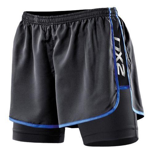 Womens 2XU Run Compression Lined Shorts - Black/Catalina Blue XL
