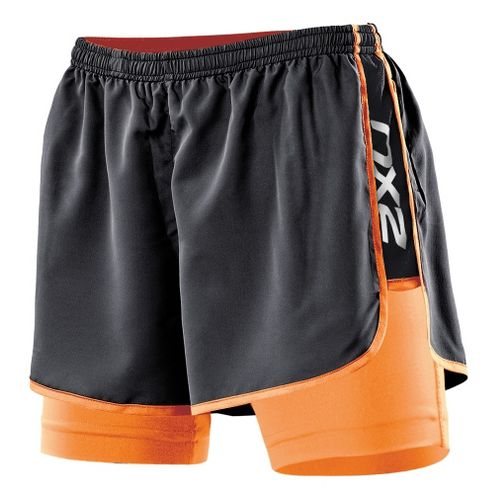 Womens 2XU Run Compression Lined Shorts - Black/Neon Orange S