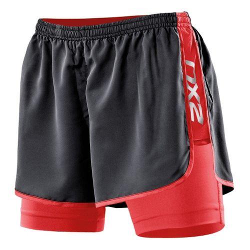 Womens 2XU Run Compression Lined Shorts - Black/Watermelon M
