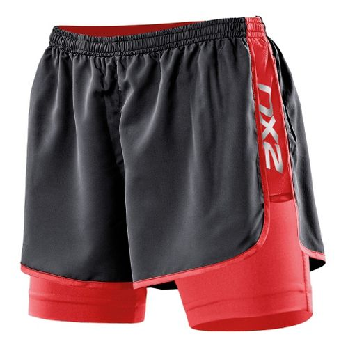 Womens 2XU Run Compression Lined Shorts - Black/Watermelon XL