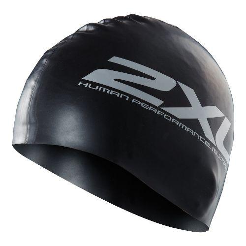2XU Unisex Silicon Swim Cap Fitness Equipment - Black/Black