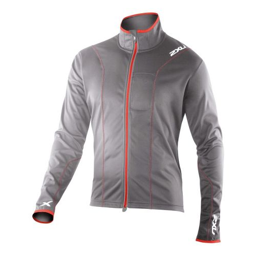 Mens 2XU Perform Running Jackets - Slate/Neon Red M