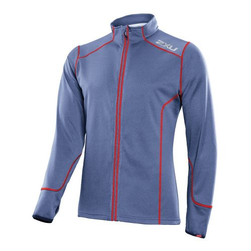 Mens 2XU SMD Thermo Run Top Running Jackets - Blue Stone/Neon Red M