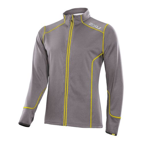Mens 2XU SMD Thermo Run Top Running Jackets - Slate/Neon Yellow S
