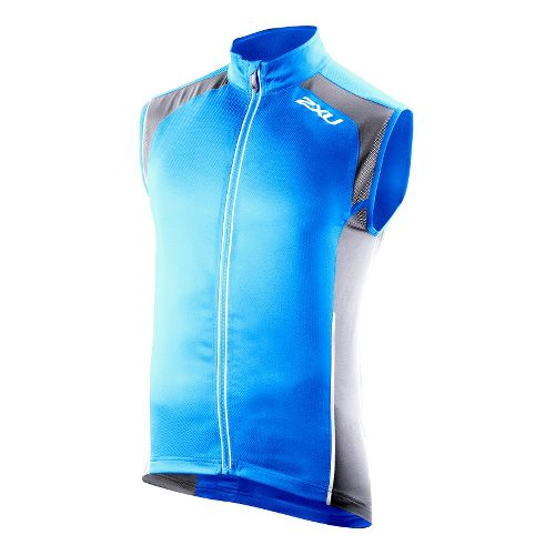 Mens 2XU Vapor Mesh 360 Running Vests - Bright Blue/Charcoal XXL