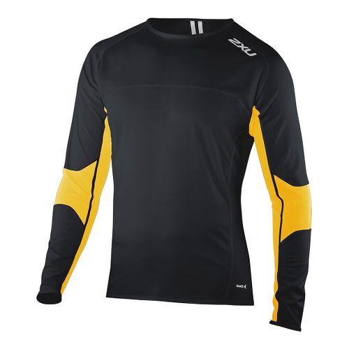 Mens 2XU Comp Run Top Long Sleeve No Zip Technical Tops - Black/Flame Orange S ...