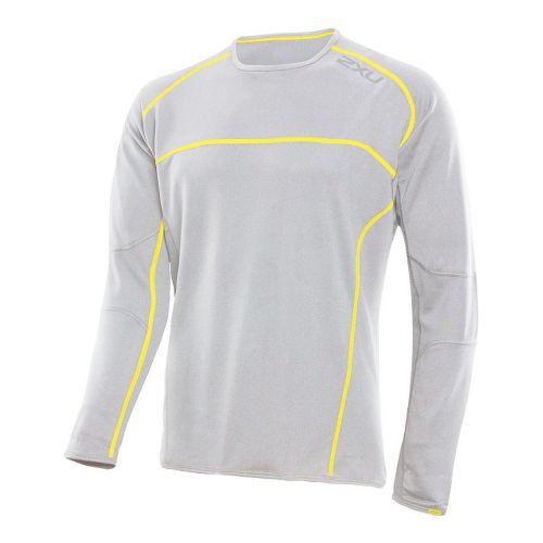 Mens 2XU Comp Run Top Long Sleeve No Zip Technical Tops - Concrete Grey/Neon Yellow ...