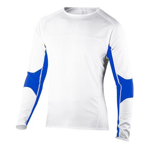 Mens 2XU Comp Run Top Long Sleeve No Zip Technical Tops - White/Electric Blue S ...