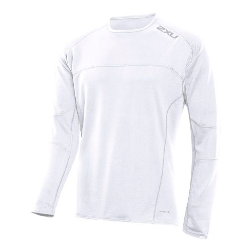 Mens 2XU Comp Run Top Long Sleeve No Zip Technical Tops - White/White L