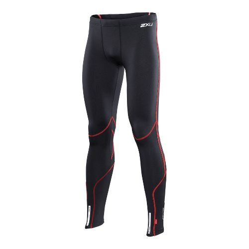 Mens 2XU Thermal Fitted Tights - Black/Neon Red XXL