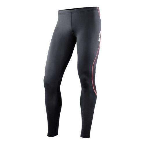 Mens 2XU Active Run Fitted Tights - Black/Neon Red XS