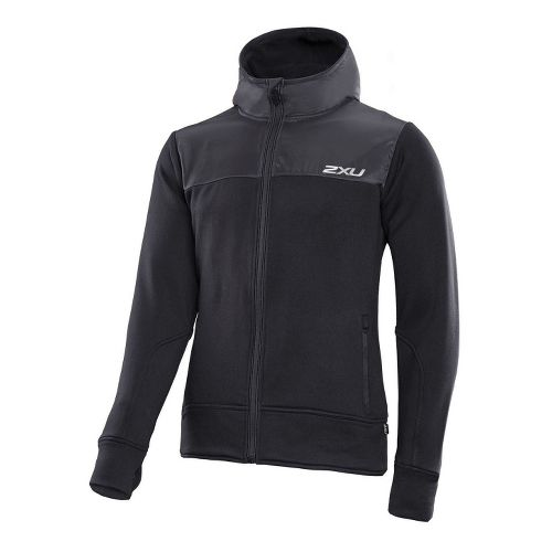 Mens 2XU Active Fleece Cruizer Warm-Up Hooded Jackets - Black/Black XXL