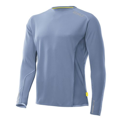 Mens 2XU Cruize Long Sleeve No Zip Technical Tops - Blue Glass/Blue Glass XXL