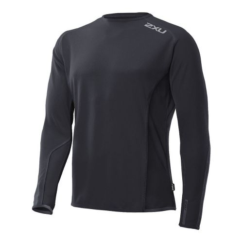 Mens 2XU Cruize Long Sleeve No Zip Technical Tops - Black/Black XXL