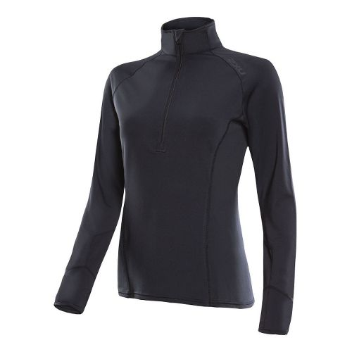 Womens 2XU Micro Thermal Long Sleeve No Zip Technical Tops - Black/Black XS