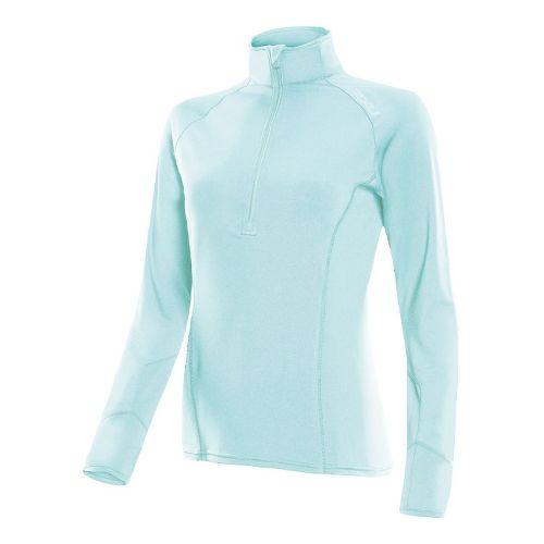 Womens 2XU Micro Thermal Long Sleeve No Zip Technical Tops - Glass Blue/Glass Blue L ...