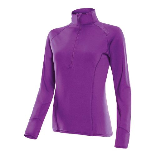 Womens 2XU Micro Thermal Long Sleeve No Zip Technical Tops - Purple Lacquer/Purple Lacquer L ...
