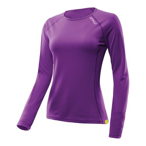 Womens 2XU SMD Long Sleeve No Zip Technical Tops - Purple Lacquer/Purple Lacquer XL