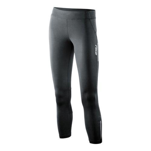 Womens 2XU Trainer 7/8 Capri Tights - Black/Black M