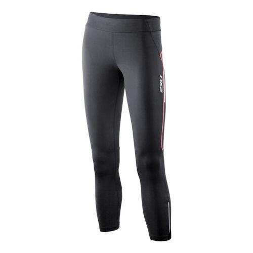 Womens 2XU Trainer 7/8 Capri Tights - Black/Coral Rose S