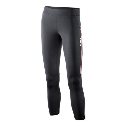 Womens 2XU Trainer 7/8 Capri Tights - Black/Coral Rose XS