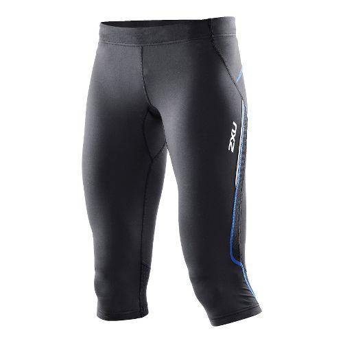 Womens 2XU Trainer 3/4 Capri Tights - Black/Catalina Blue XS