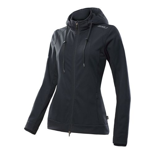 Womens 2XU Soft Shell Membrane Warm-Up Hooded Jackets - Black/Black S