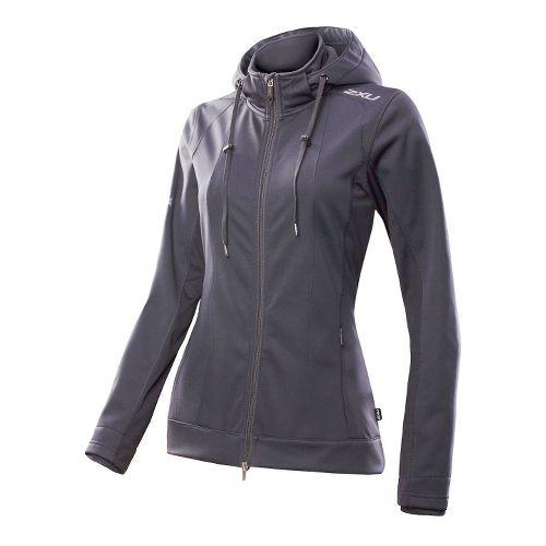 Womens 2XU Soft Shell Membrane Warm-Up Hooded Jackets - Steel Grey/Steel Grey M