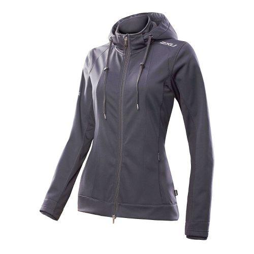 Womens 2XU Soft Shell Membrane Warm-Up Hooded Jackets - Steel Grey/Steel Grey S