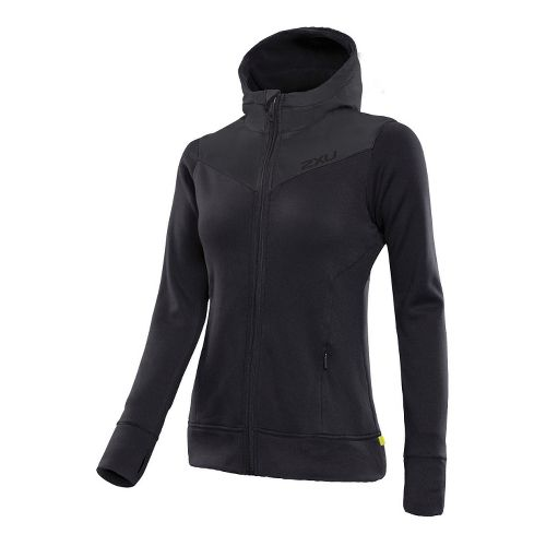 Womens 2XU Protect Jacket Warm-Up Hooded Jackets - Black/Black S