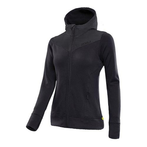 Womens 2XU Protect Jacket Warm-Up Hooded Jackets - Black/Black XL