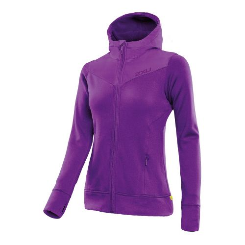 Womens 2XU Protect Jacket Warm-Up Hooded Jackets - Purple Lacquer/Purple Lacquer L