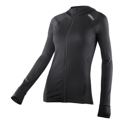 Womens 2XU Power X Hoodie Warm-Up Hooded Jackets - Black/Black S