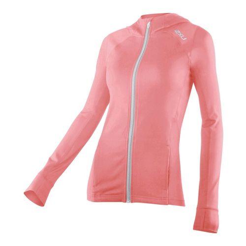 Womens 2XU Power X Hoodie Warm-Up Hooded Jackets - Dusty Pink/Concrete Grey M