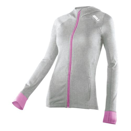 Womens 2XU Marle Power X Hoodie Warm-Up Hooded Jackets - Concrete Grey/Violet Varnish XS