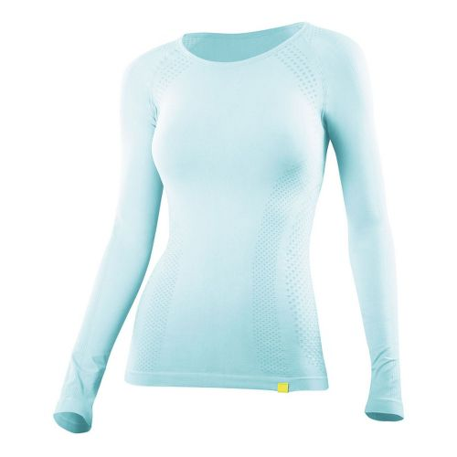 Womens 2XU Engineered Knit Long Sleeve Baselayer No Zip Technical Tops - Glass Blue/Glass Blue ...