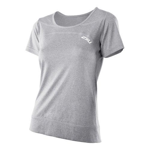 Womens 2XU Movement Tee Short Sleeve Technical Tops - Light Grey Marle/Light Grey Marle S ...