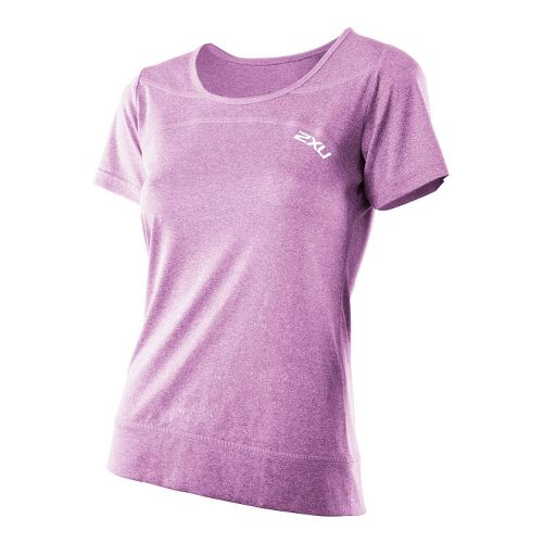 Womens 2XU Movement Tee Short Sleeve Technical Tops - Violet Varnish Marle/Violet Varnish Marle ...
