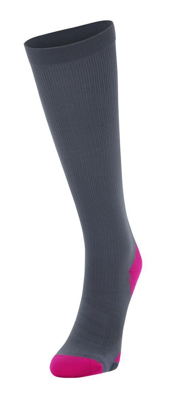 Womens 2XU Compression Sock Injury Recovery - Grey/Cerise Pink XL