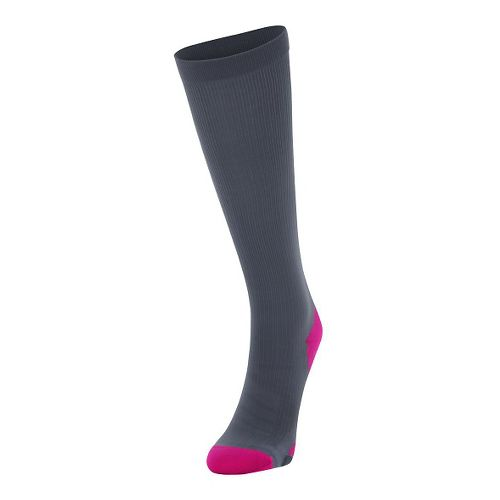 Womens 2XU Compression Sock Injury Recovery - Grey/Cerise Pink L