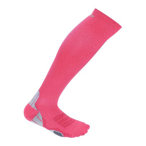 Womens 2XU Compression Sock Injury Recovery - Candy Pink/Grey M