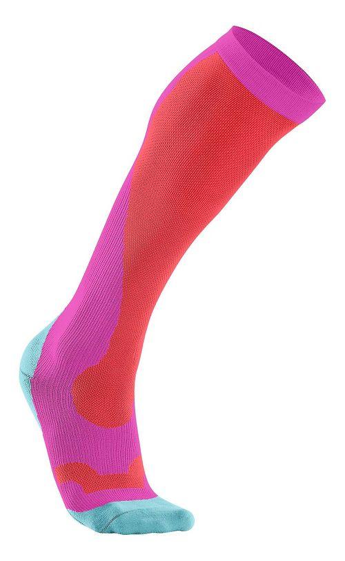 Womens 2XU Compression Performance Run Sock Injury Recovery - Pink/Flouro Coral L