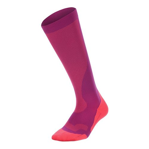 Womens 2XU Compression Performance Run Sock Injury Recovery - Wildaster/Pink Glow S
