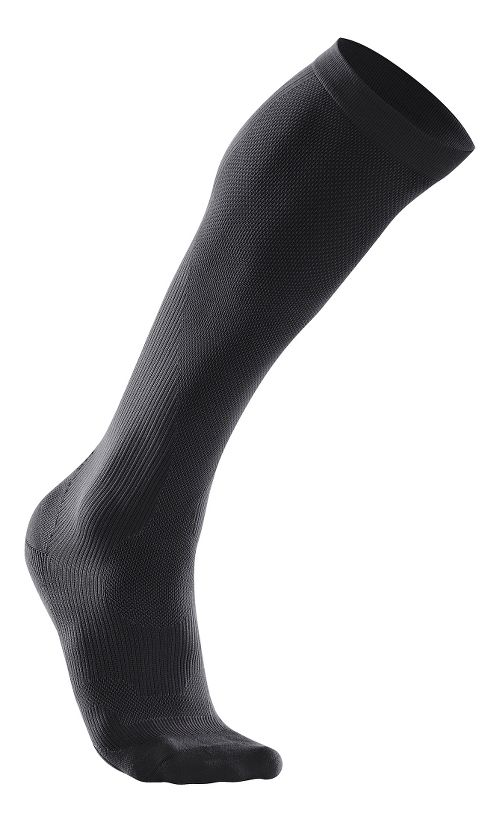 Womens 2XU Compression Performance Run Sock Injury Recovery - Black/Black L