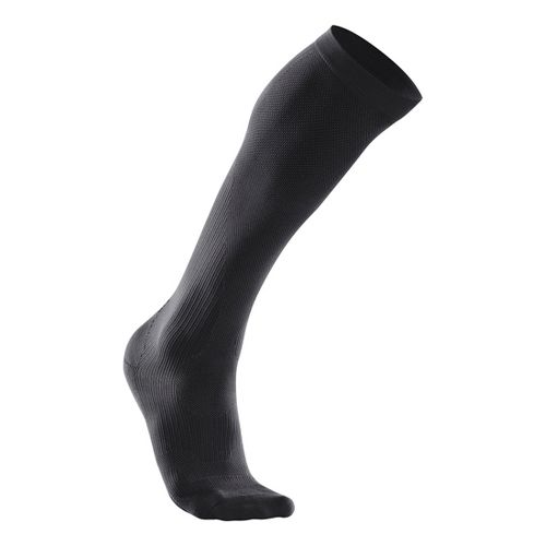Womens 2XU Compression Performance Run Sock Injury Recovery - Black/Black M