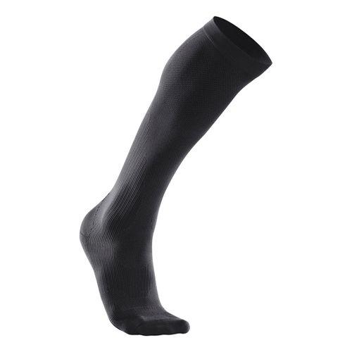 Womens 2XU Compression Performance Run Sock Injury Recovery - Black/Black XL