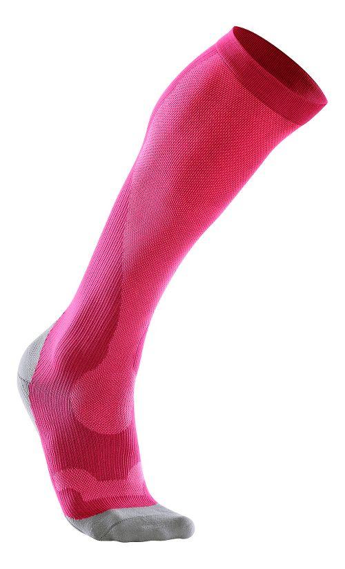 Womens 2XU Compression Performance Run Sock Injury Recovery - Hot Pink/Grey XS