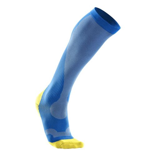 Womens 2XU Compression Performance Run Sock Injury Recovery - Vibrant Blue/Canary Yellow M