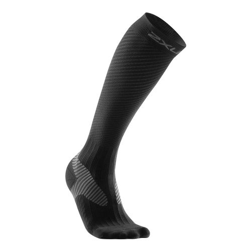 Mens 2XU Elite Compression Sock Injury Recovery - Black/Grey L